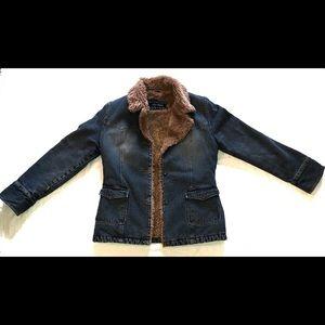 Womens Steve Madden Fur Lined Jean Jacket